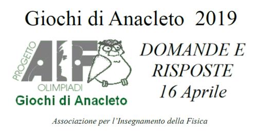 Giochi di Anacleto (16/4/2019 e 3/5/2019)