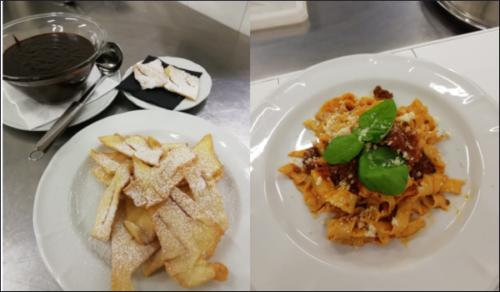 Tagliatelle all'uovo con ragoût alla bolognese e Chiacchiere di Carnevale con Sanguinaccio (18/2/21)